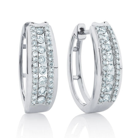 Huggie Earrings with 1/2 Carat TW of Diamonds in 10kt White Gold