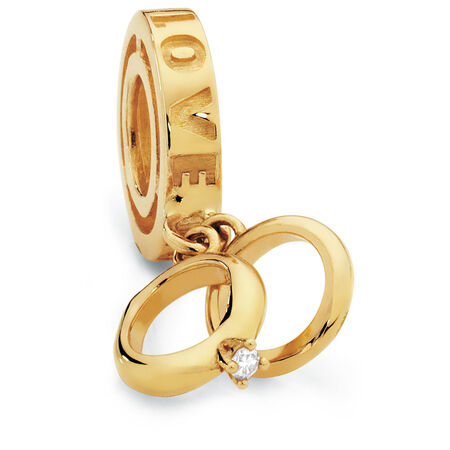 Diamond Set & 10kt Yellow Gold Bridal Rings Charm