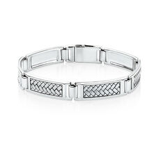 Men's Weave Pattern Bracelet in 925 Sterling Silver