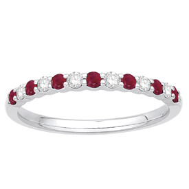 Stacker Ring with Ruby & 0.15 Carat TW of Diamonds in 10kt White Gold