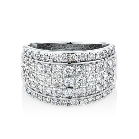 Ring with 1 Carat TW of Diamonds in 10ct White Gold