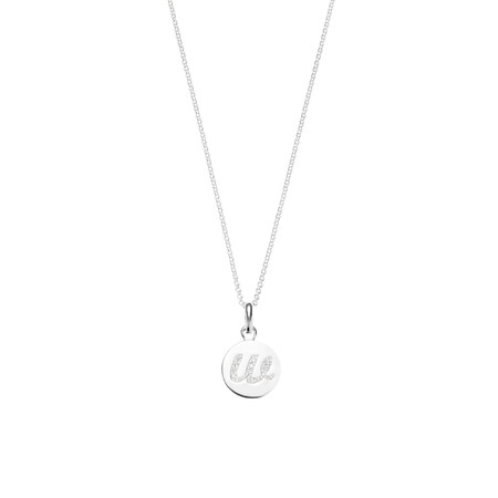 W Initial Pendant with Cubic Zirconia in Sterling Silver