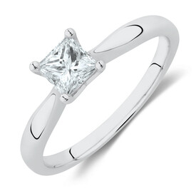 Certified Solitaire Engagement Ring with a 1/2 Carat TW Diamond in 14ct White Gold