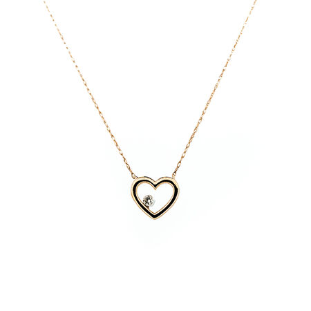 Heart Pendant With a Diamond In 10kt Rose Gold