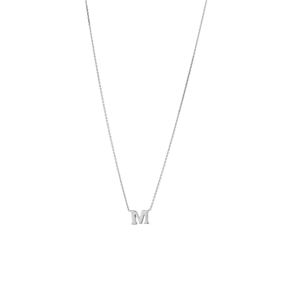 'M' Initial Necklace in Sterling Silver