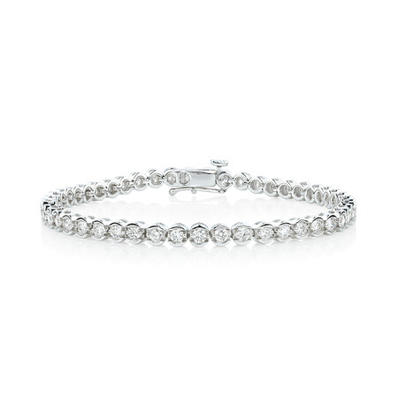 Bracelet with 3 Carat TW of Diamonds in 14kt White Gold