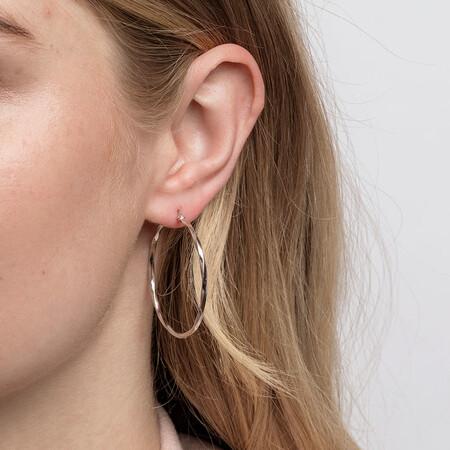 38mm Square Twist Hoop Earrings in 10kt White Gold