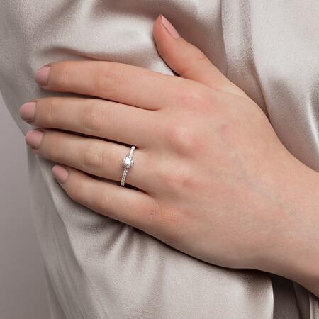 Sir Michael Hill Designer GrandAria Engagement Ring With 0.70 Carat TW Of Diamonds In 14ct White & Rose Gold