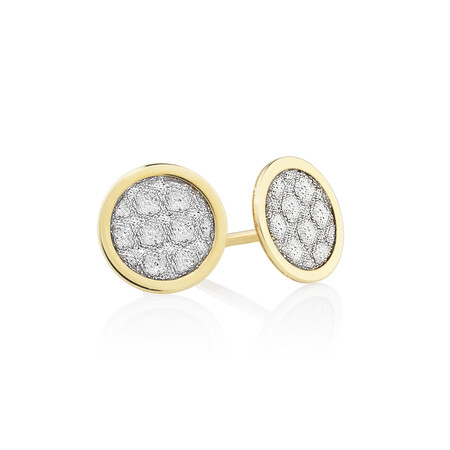 Circle Glitter Set in 10kt Yellow Gold