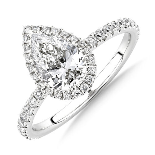 Sir Michael Hill Designer Halo Pear Engagement Ring with 1.36 Carat TW of Diamonds in 18kt White Gold