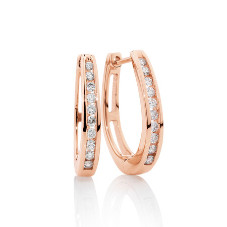 Huggie Earrings with 0.33 Carat TW of Diamonds in 10kt Rose Gold