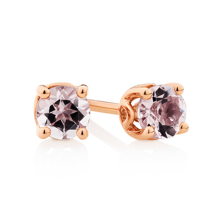 4mm Stud Earrings with Morganite in 10kt Rose Gold
