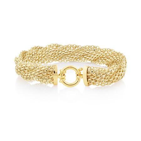 "19cm (7.5"") Fancy Bolt Ring Bracelet in 18kt Yellow Gold"