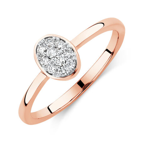 Promise Ring with Diamonds in 10kt Rose Gold
