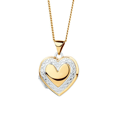 Heart Locket in 10kt Yellow Gold & Sterling Silver