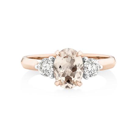Ring with Morganite & 0.40 Carat TW ofDiamondsin 10kt Rose Gold