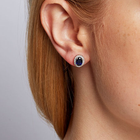 Stud Earrings with Created Sapphire & Diamonds in 10kt White Gold