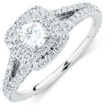 Sir Michael Hill Designer GrandArpeggio Engagement Ring with 0.95 Carat TW of Diamonds in 14kt White Gold