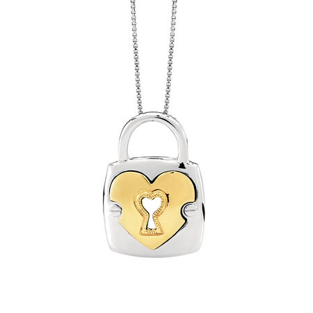 Padlock Pendant in 10kt Yellow Gold & Sterling Silver
