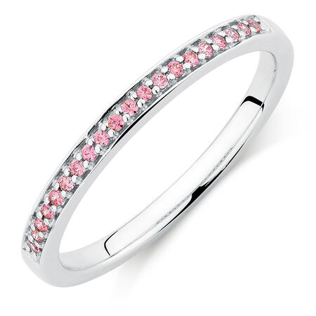 Ring with Pink Cubic Zirconias in Sterling Silver