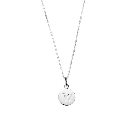 Engraved W Round Pendant in Sterling Silver