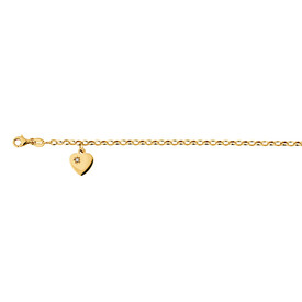 "17cm (6.5"") Diamond Set Rolo Bracelet in 10kt Yellow Gold"