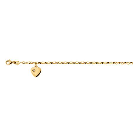 "17cm (6.5"") Diamond Set Rolo Bracelet in 10kt Yellow Gold"