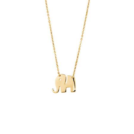 Mini Elephant Necklace in 10kt Yellow Gold