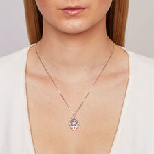 Online Exclusive - Michael Hill Designer Pendant with 0.16 Carat TW of Diamonds in Sterling Silver & 10kt Rose Gold