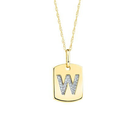 "W"" Initial Rectangular Pendant With Diamonds In 10kt Yellow Gold"