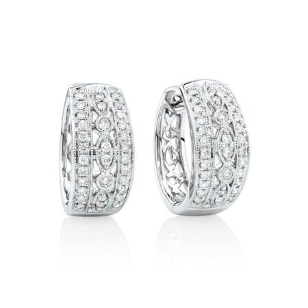Fancy Huggie Earrings with 0.34 Carat TW of Diamonds in 10kt White Gold