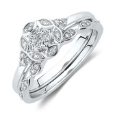 Evermore Bridal Set with 1/8 Carat TW of Diamonds in 10kt White Gold