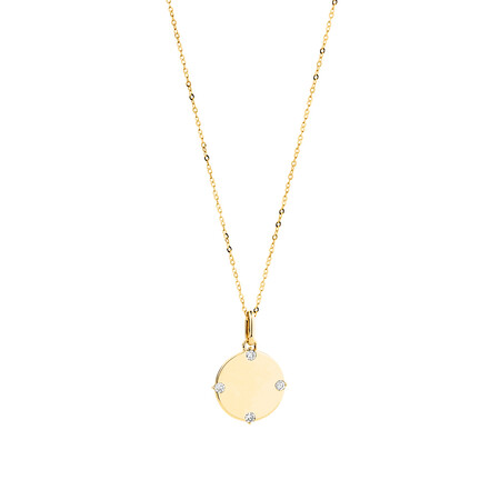 Compass Pendant & Chain with Diamonds in 10kt Yellow Gold