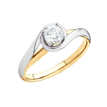 Solitaire Engagement Ring with a 0.40 Carat Diamond in 14kt Yellow & White Gold