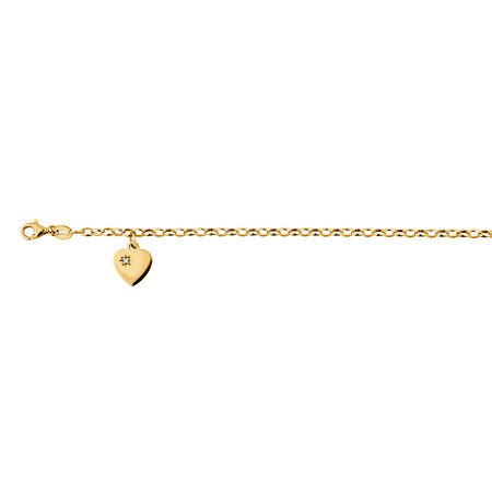 "19cm (7.5"") Diamond Set Rolo Bracelet in 10kt Yellow Gold"