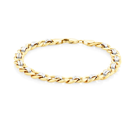 "21cm (8.5"") Fancy Curb Bracelet in 10kt Yellow & White Gold"
