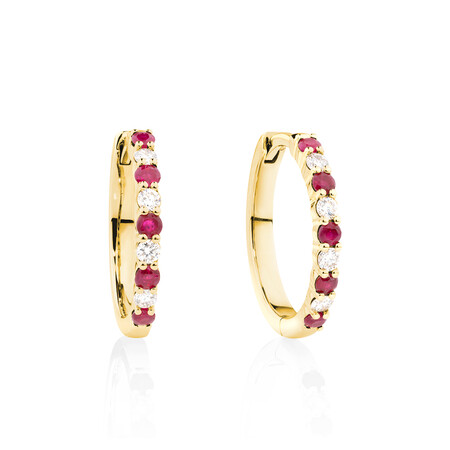Huggie Earrings with Natural Ruby & 0.20 Carat TW of Diamonds in 10kt Yellow Gold