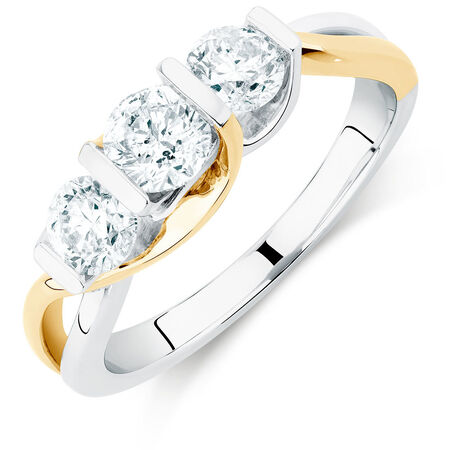 Three Stone Engagement Ring with 1 Carat TW of Diamonds in 14kt White & Yellow Gold