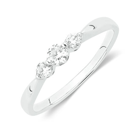 Online Exclusive - Three Stone Ring with 1/4 Carat TW of Diamonds in 10kt White Gold
