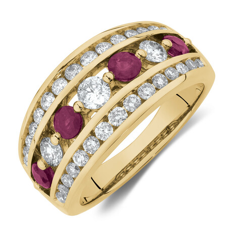 Ring with Ruby & 1 Carat TW of Diamonds in 14kt Yellow Gold