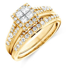 Bridal Set with 1 Carat TW of Diamonds in 14kt Yellow Gold
