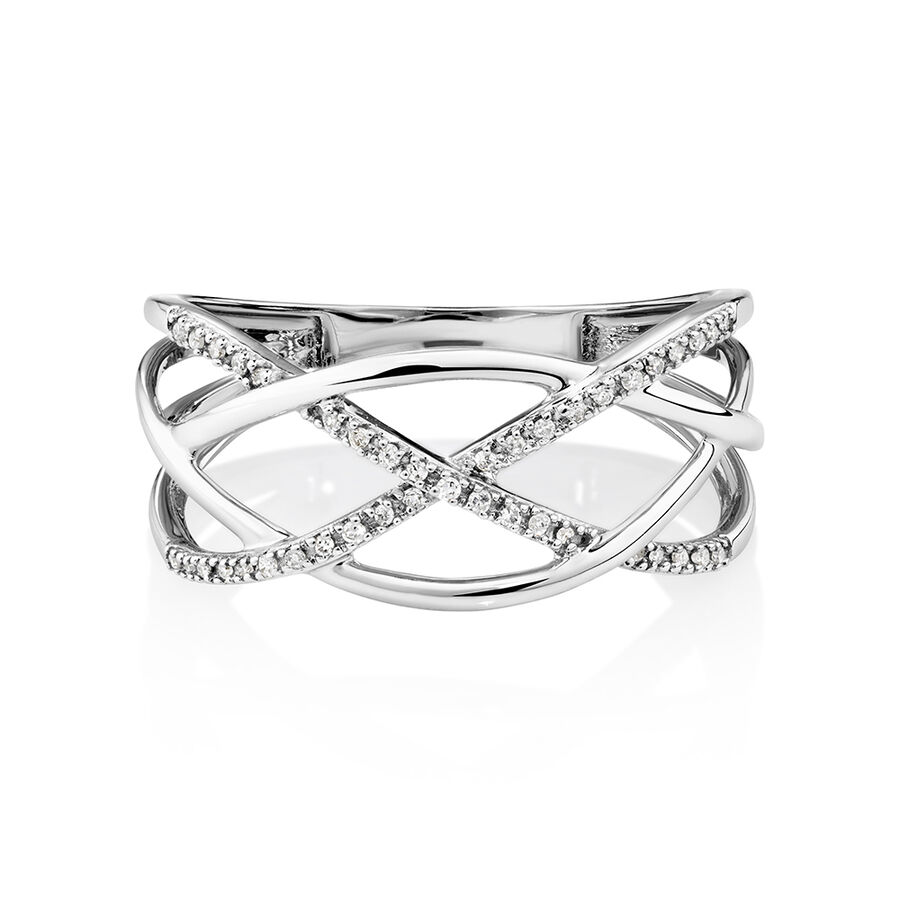 Crossover Ring with Diamonds in 10kt White Gold