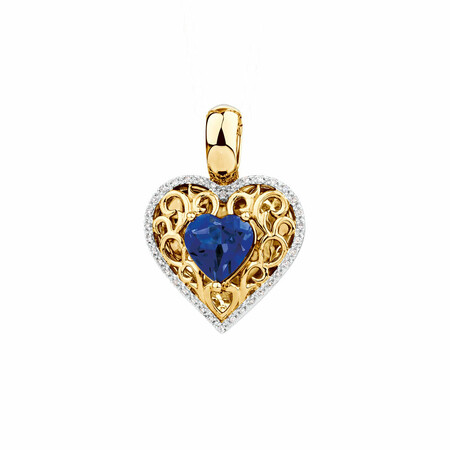 Heart Enhancer with Created Sapphire & Diamonds in 10kt Yellow Gold