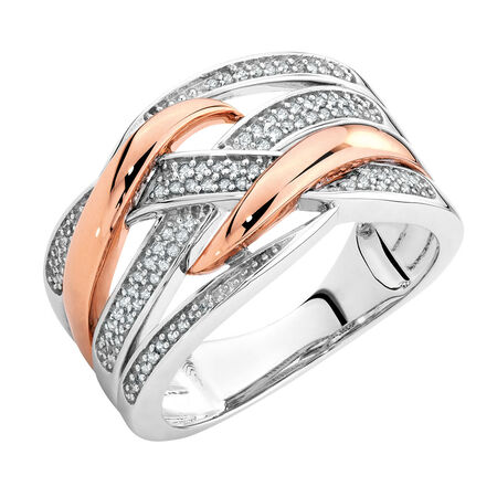 Ring with 0.20 Carat TW of Diamonds in 10kt Rose Gold & Sterling Silver