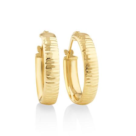 15mm Diamond Cut Hoop Earrings In 10kt Yellow Gold