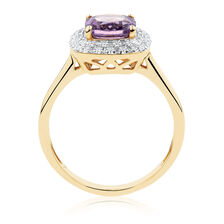 Ring with Amethyst Diamonds in 10kt Yellow & White Gold