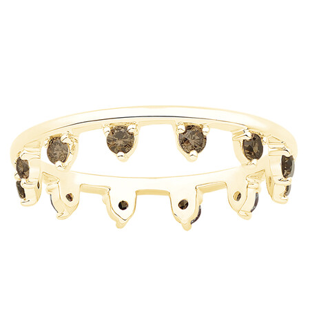 Zipper Ring with Champagne Diamonds in 10kt Yellow Gold
