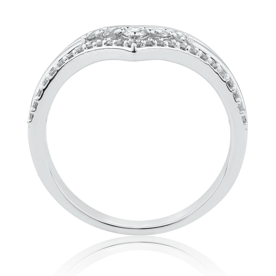 Chevron Ring with 1/3 Carat TW of Diamonds in 10kt White Gold