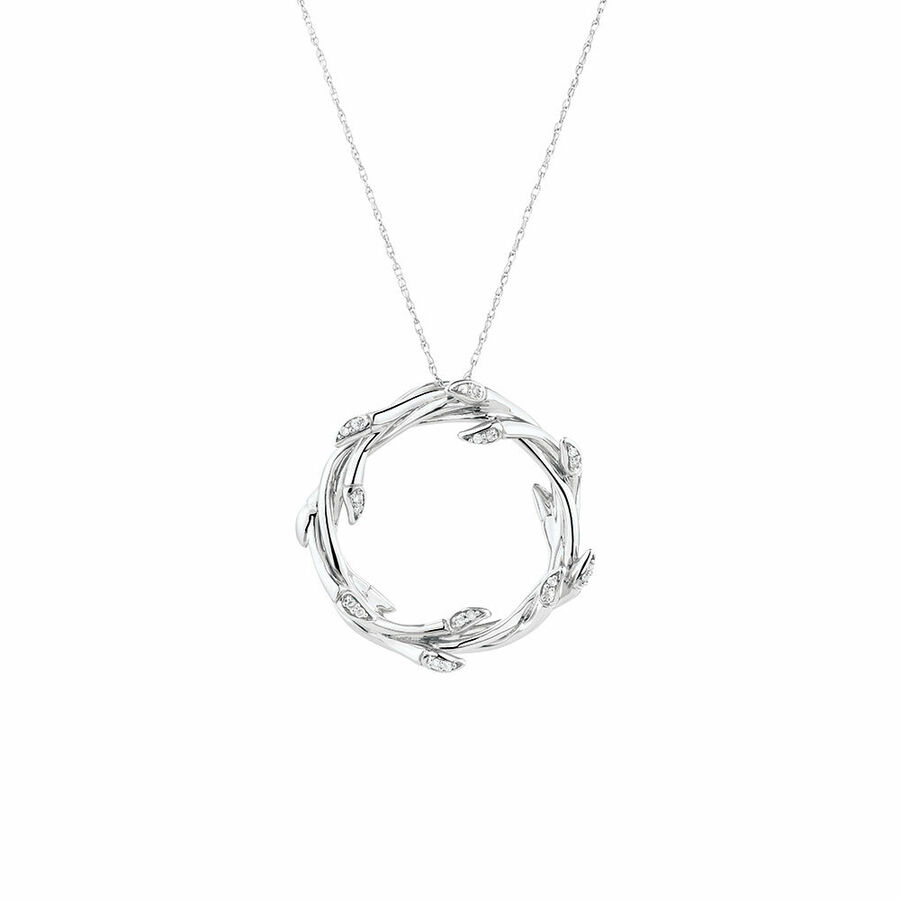 Medium Willow Pendant with Diamonds in Sterling Silver