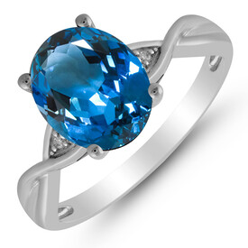 Twist Ring with Blue Topaz & Diamond in 10kt White Gold